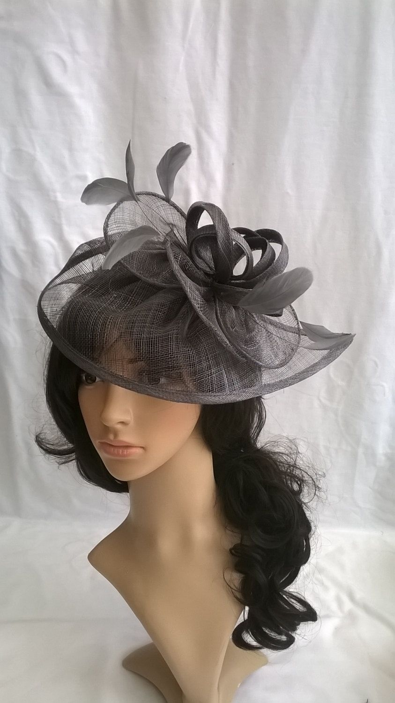 Dark Grey Fascinator..Stunning Fascinator ..Sinamay and Feather Teardrop  style with swirls 103cf588cb3