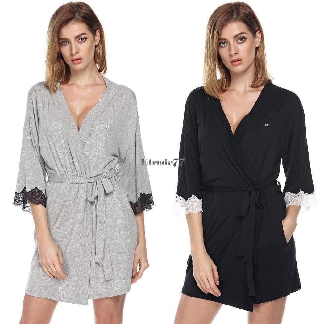 Lace dress nightwear  Ekouaer Womenus Lace Kimono Bath Robe Sleepwear Dress Lingerie Gown