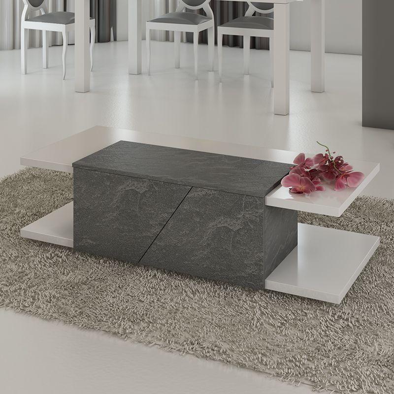 Table basse blanc laqué et effet ardoise ZOLA | Table basse - table ...