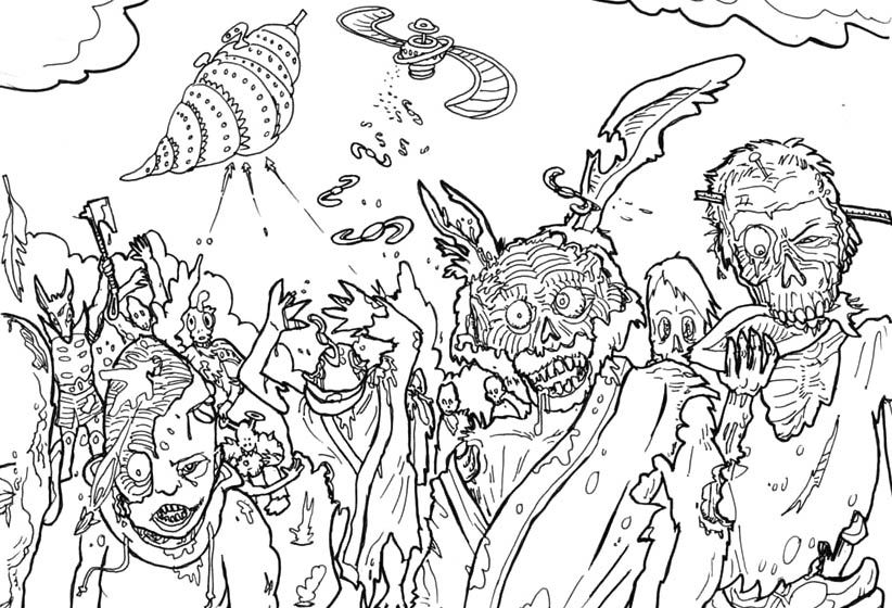 all zombie coloring page - Zombie Coloring Pages
