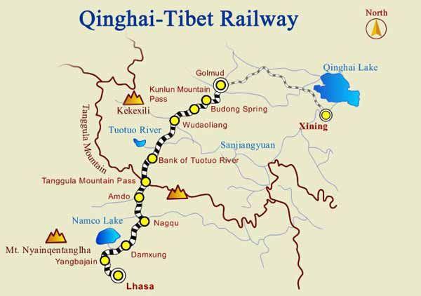 Lhasa China Map.Map Of Golmud Lhasa Train Route Tibet Pinterest Tibet Lhasa