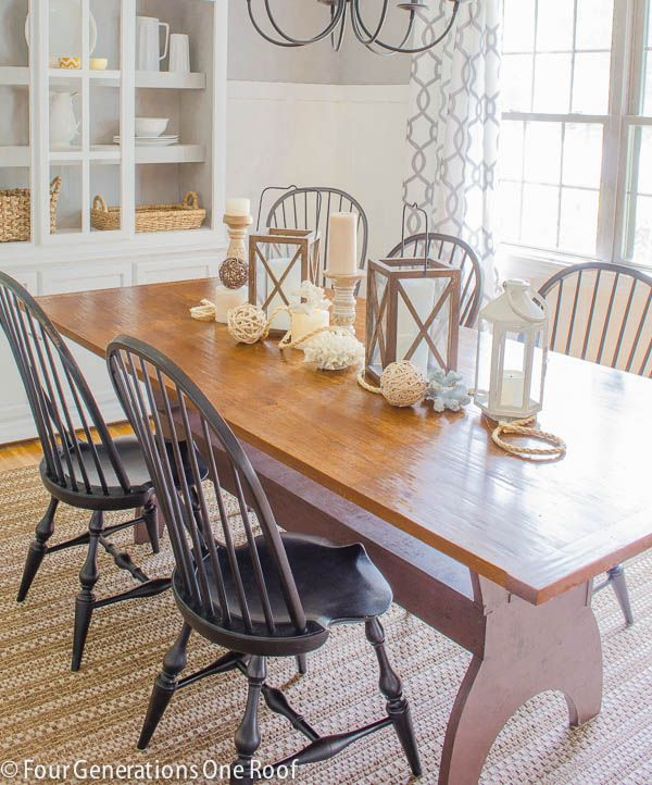 summer dining room update | natural wood table, white hutch and