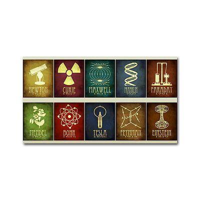 Albert Einstein (Nikola Tesla Faraday) chemistry physics infographics poster 001