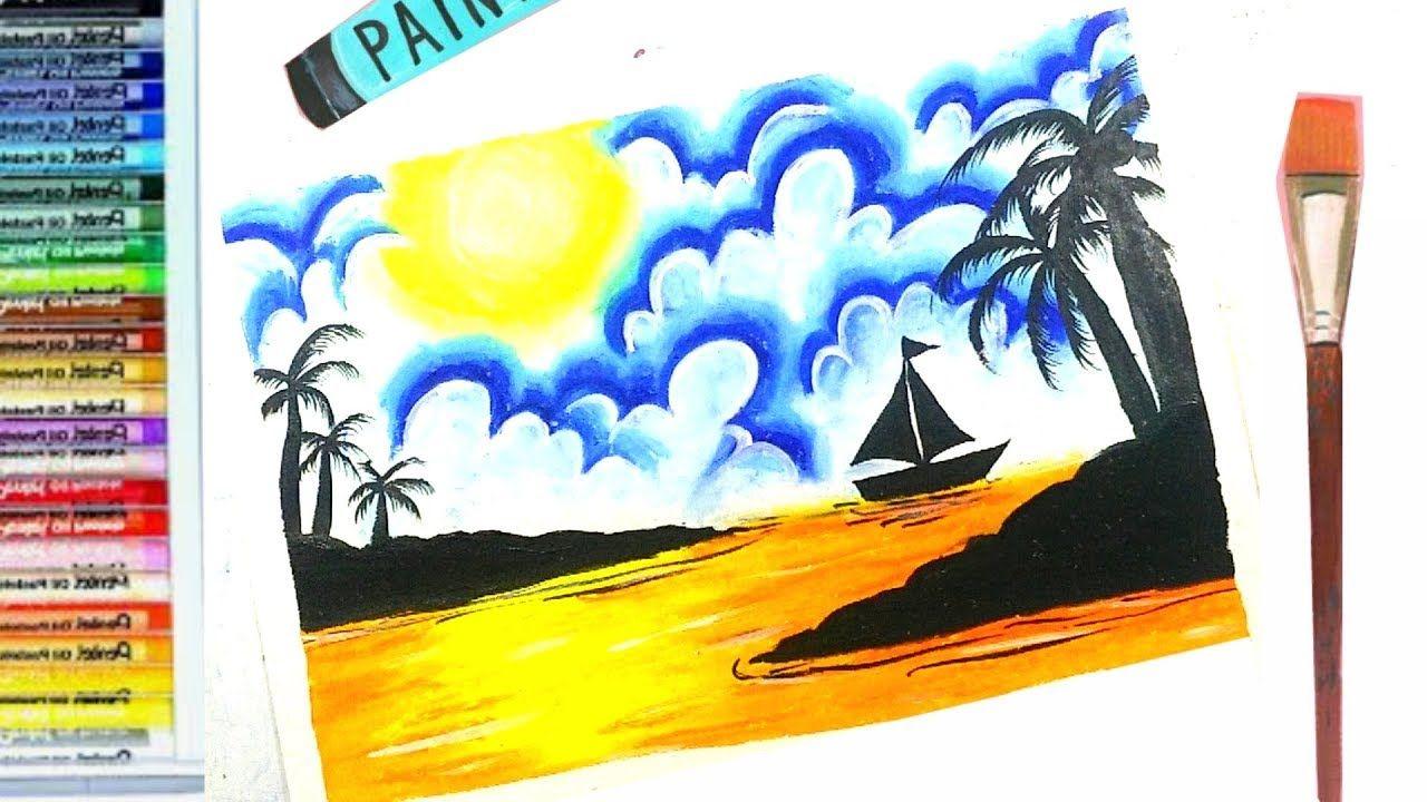 How To Draw And Color Sea View With Acrylic Oil Pastel L วาดภาพระบาย ภาพวาดบนผ นผ าใบ ส น ำม น ศ ลปะ