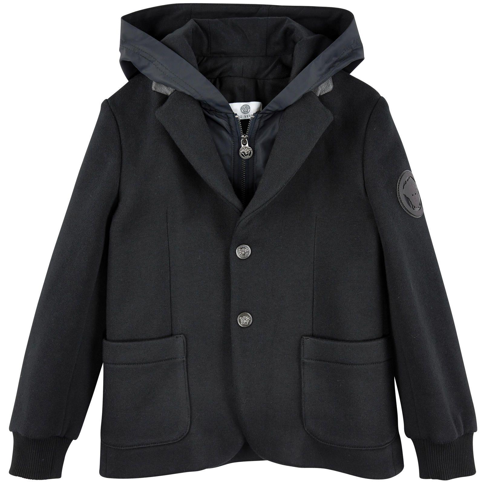 Блейзер из джерси-милано с капюшоном из нейлона с однотонного черного цвета Young Versace для мальчиков | Melijoe.com