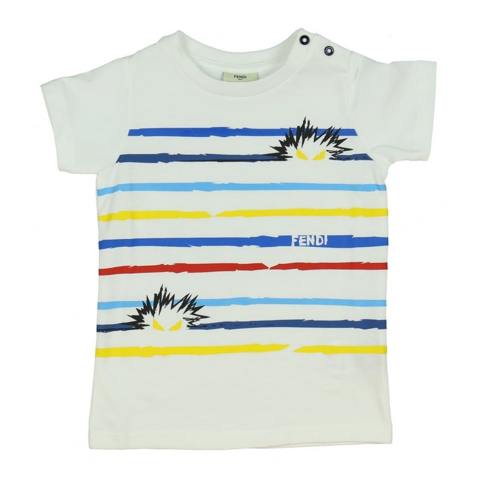 b0096ab20911c Baby Boys White Striped Monster Print T-shirt. Available now at  www.chocolateclothing.co.uk