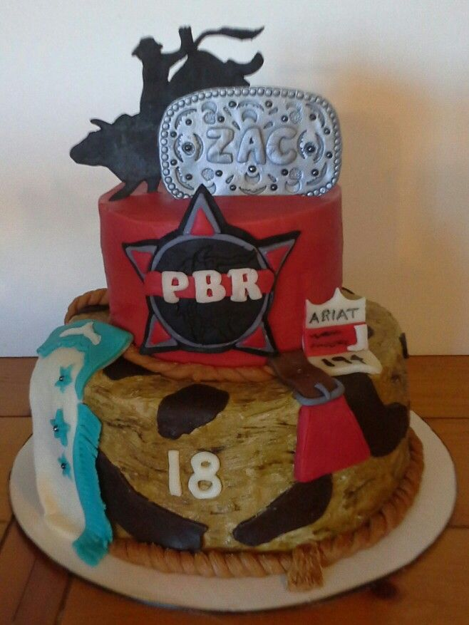 Zacs PBR bullriding cake Party Ideas Pinterest Cake