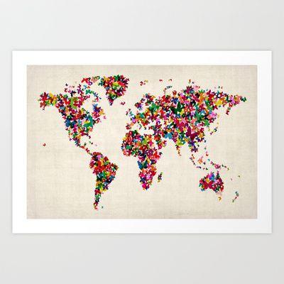 Butterflies Map of the World Map Art Print by ArtPause - $17.68