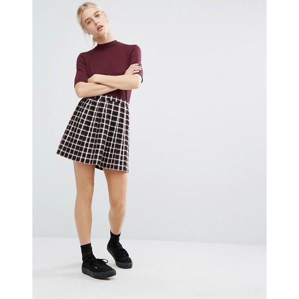 764494c25d Monki Check Print Pleated Mini Skirt ($22) ❤ liked on Polyvore featuring  skirts, mini skirts, red, plaid pleated mini skirt, high waisted pleated  skirt, ...