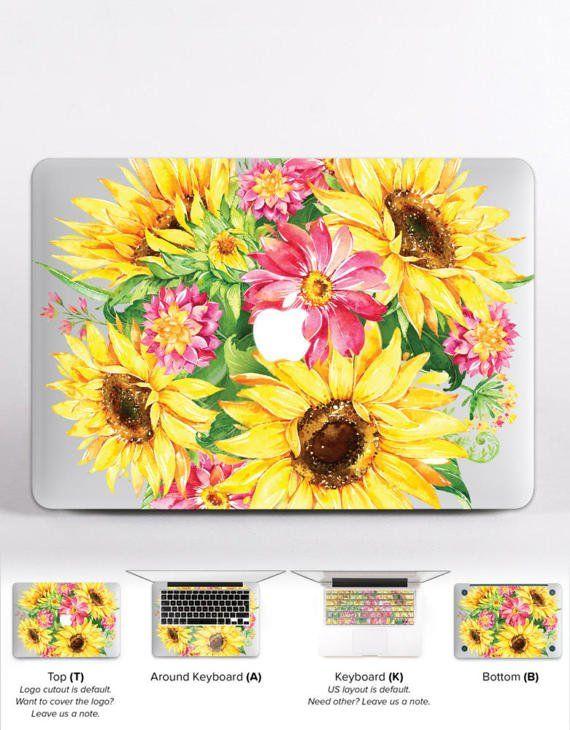 Retro Sunflower Floral Gold Glitter Hard Case Macbook Pro Air Retina 11 12 13 15
