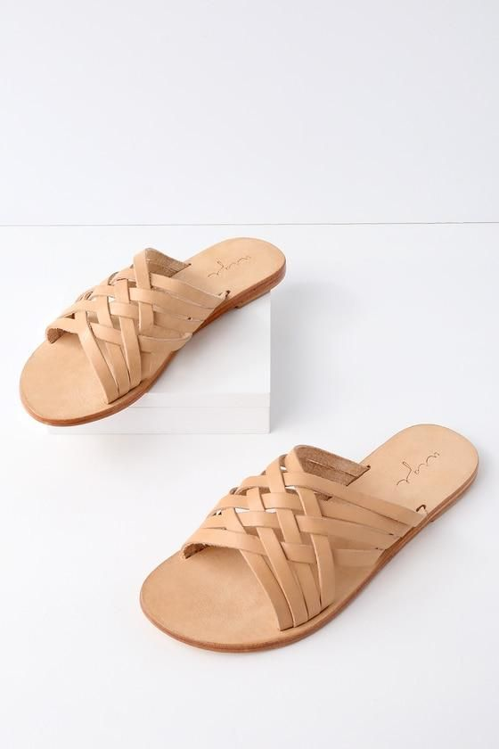 Lulus Coco Flesh Tan Leather Slide Sandal Heels - Lulus Ja1kbE