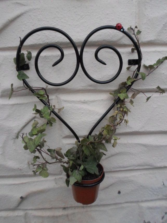 Ladybug Plant Holder Wrought Iron Forged Steel Heart Plant Trainer Wrought Iron Decor Kitchen Wrought Iron Wrought Iron Decor
