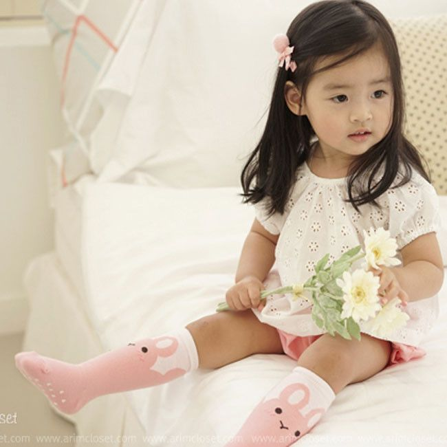 Arim Closet Pink Bunny Knee Socks Greenberry Kids Babák