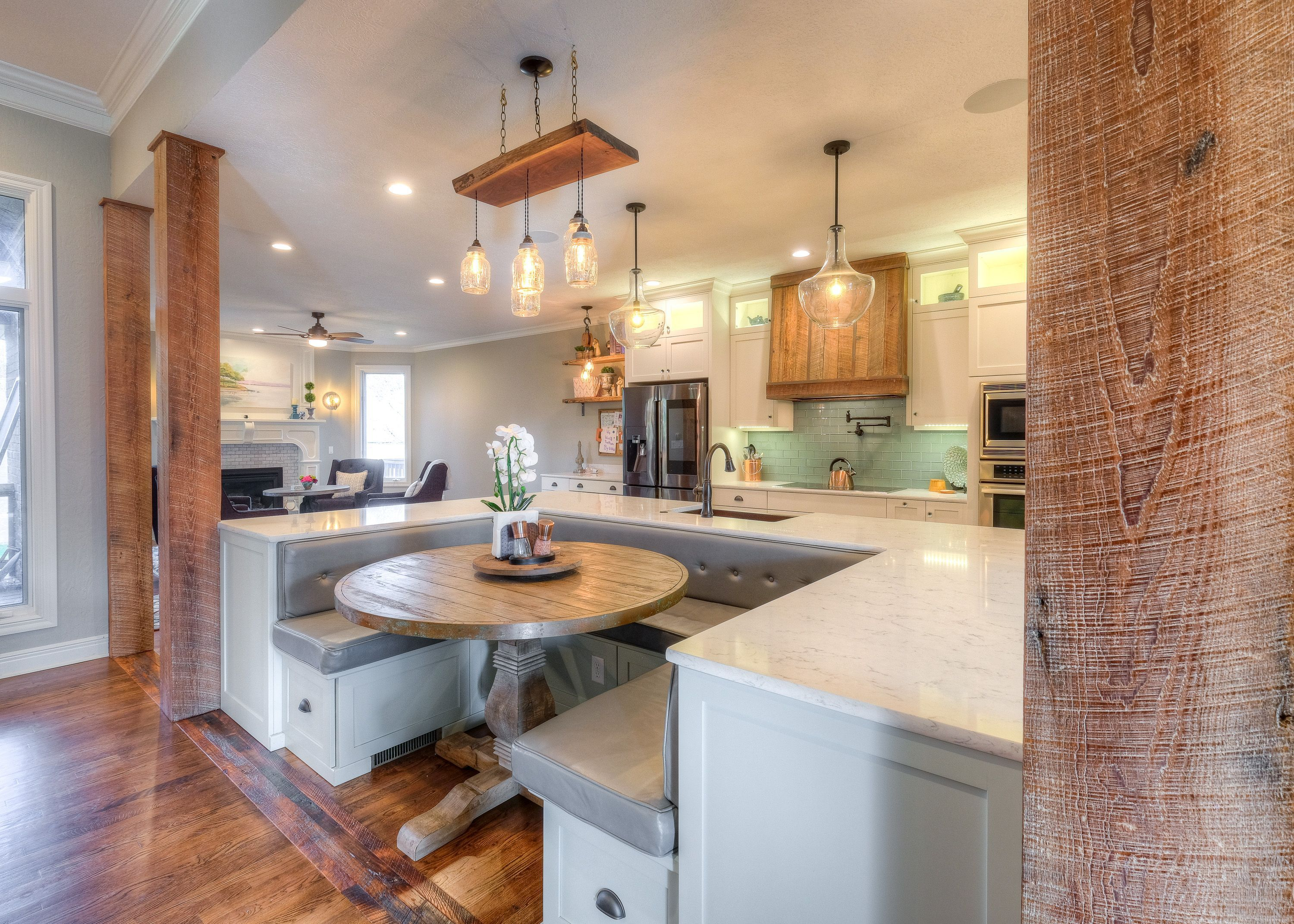 White Cabinets And Grey Counter Tops With Wrap Around Kitchen Island Built In Booth Green Back Splash Kitchencountertopsbutcherblock