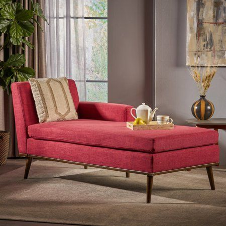 Noble House Stella Mid Century Modern Fabric Chaise Lounge Red Walmart Com Chaise Lounge Living Room Mid Century Modern Chaise Lounge Mid Century Modern Fabric