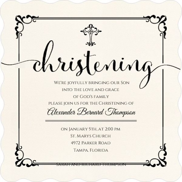 Elegant Black Frame Christening Invitation Christening Pinterest