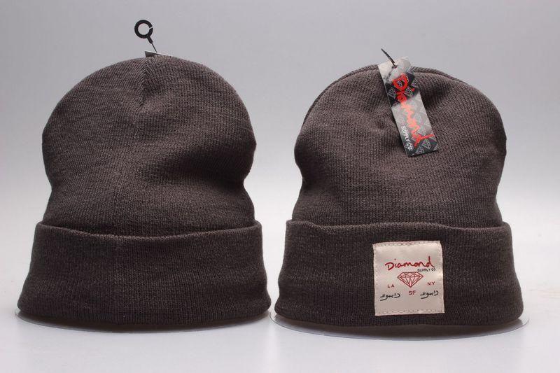 Mens / Womens Diamond Supply Co City Cuff LA NY SF Logo Patch Skully Knit Beanie Cap - Brown