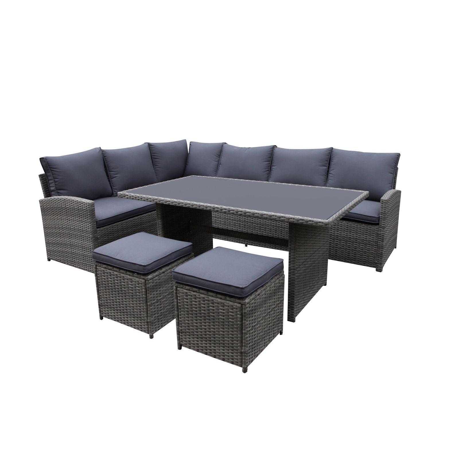 Matara Rattan Corner Sofa Dining Garden Furniture Set In Grey In 2020 Rattan Corner Sofa Corner Sofa Bed With Storage Corner Sofa And Chair