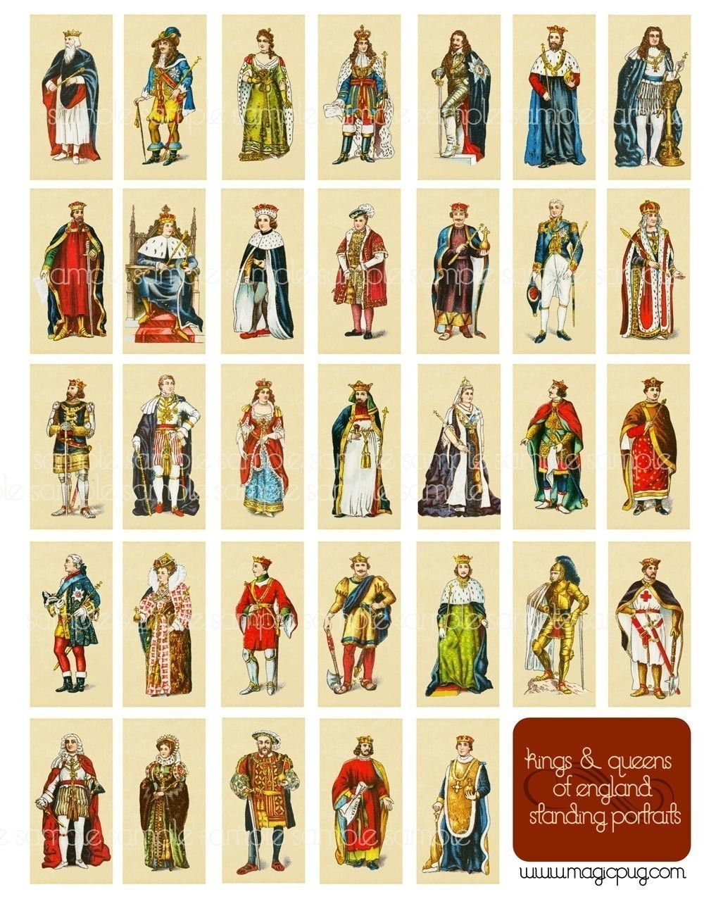 Kings and Queens of England standing portraits digital collage sheet Henry VIII Elizabeth I costume fashion art history. $3.00, via Etsy.