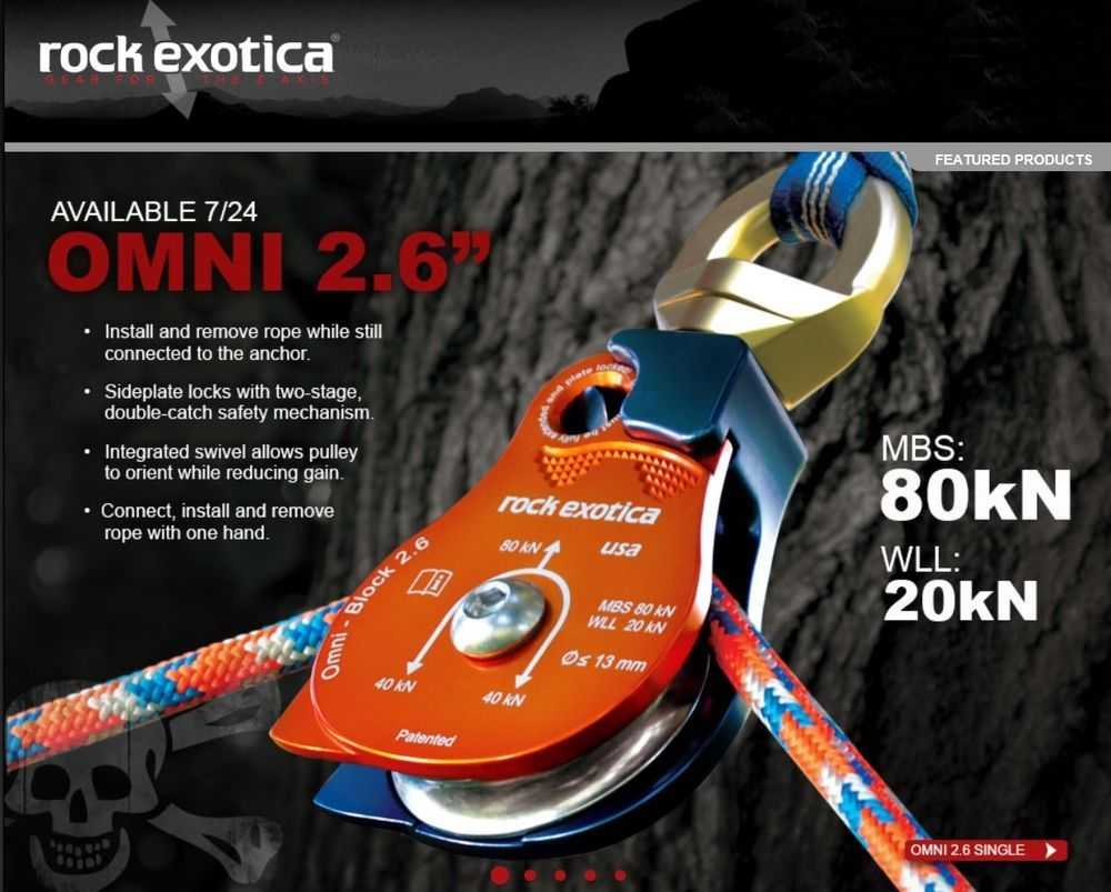 Rock Exotica Omni Block 2 6 Pulley Single Sheave Block For 1 2 Inch Rope 80kn Pulley Rope Rappelling