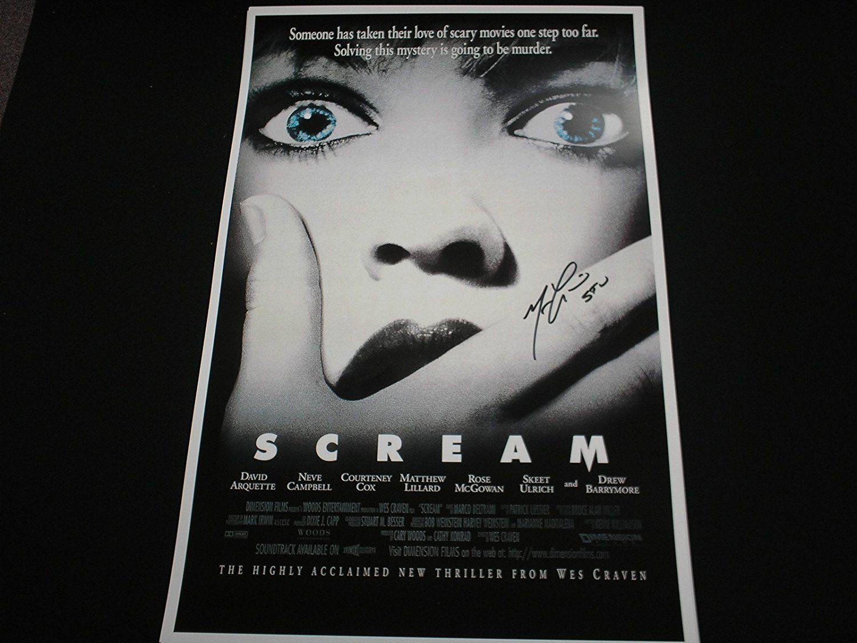 Matthew lillard signed scream 11x17 movie poster ghostface