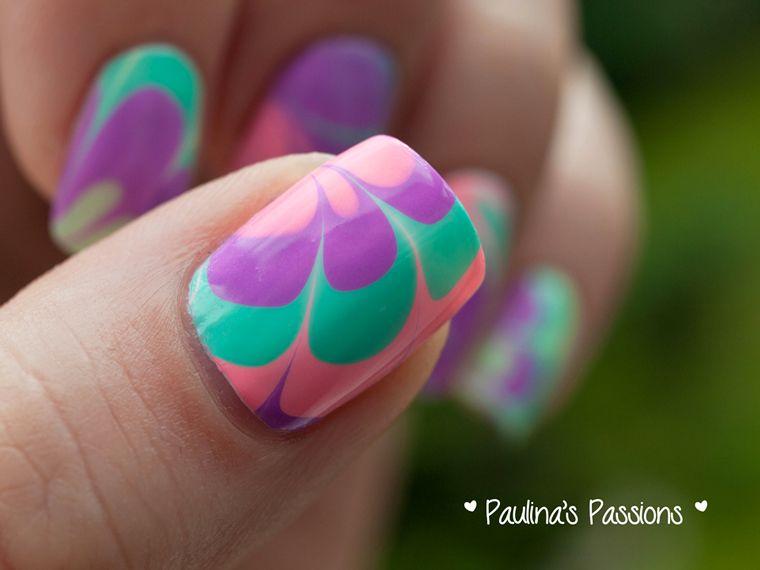 Cool Water Marble Nails using China Glaze Sunsational Nail Polish ...