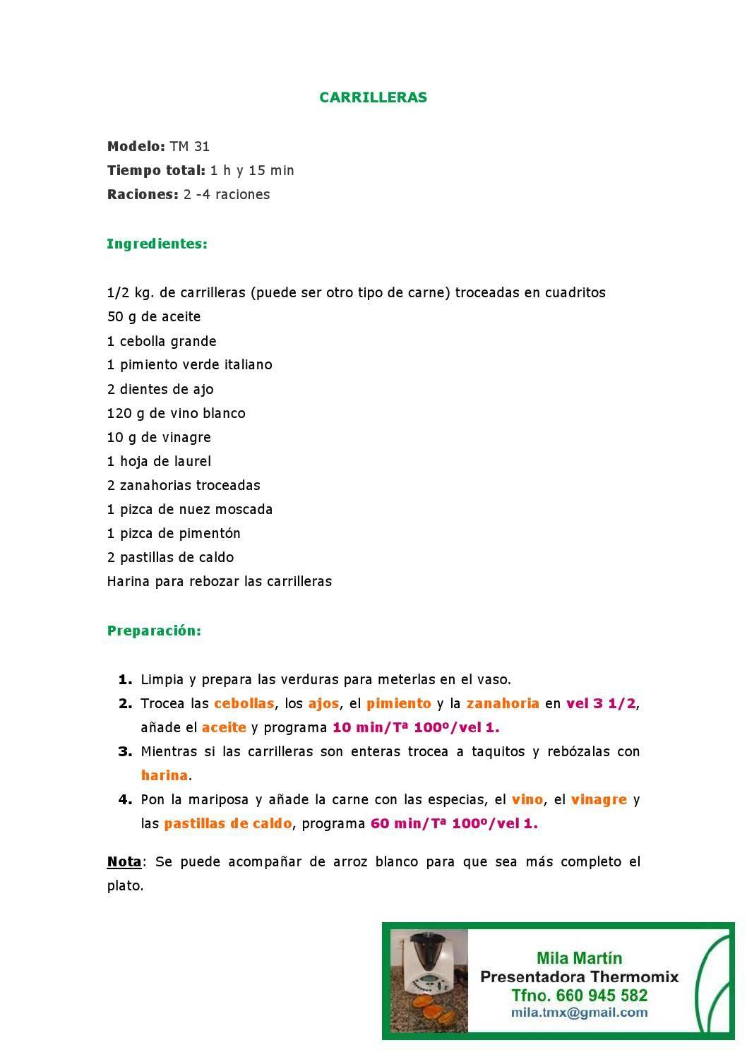 Menu De La Semana Ii Recetas Thermomix Menu Carrilleras