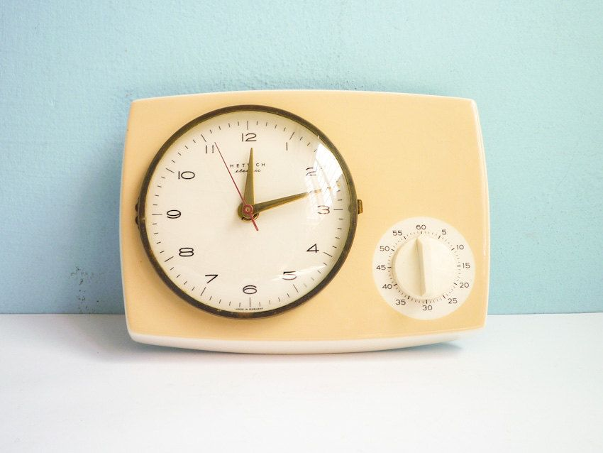 Vintage Kitchen Wall Clock With Timer Porcelain Ceramic 50s 60s. U20ac69.00,  Via Etsy
