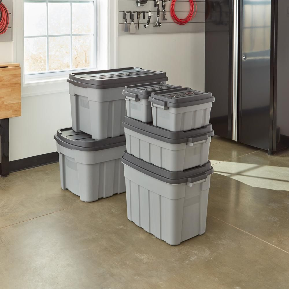 Husky Heavy Duty 10 Gal Storage Bin With Lid 235596 The Home Depot Storage Bins With Lids Storage Tote Storage
