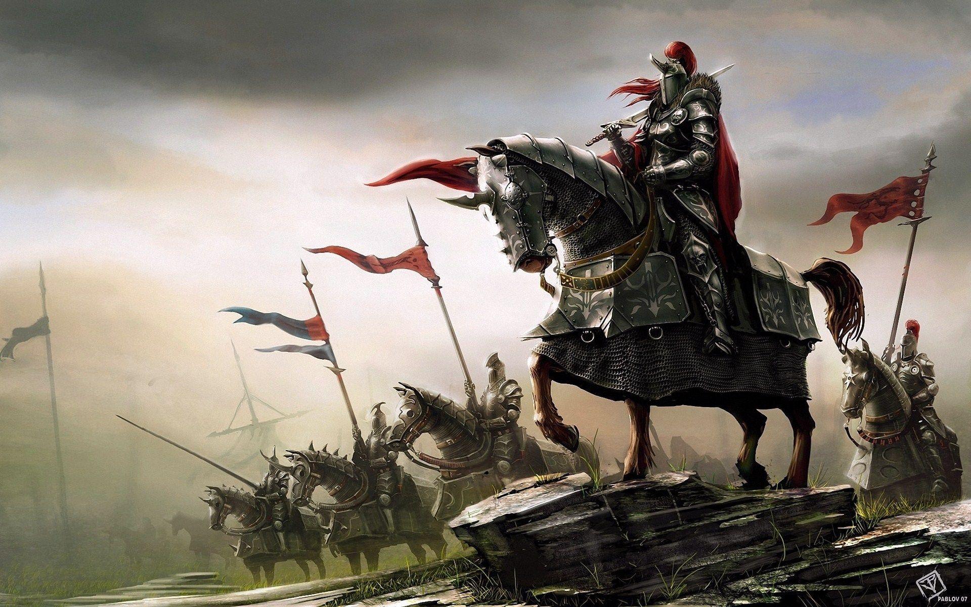 Fantasy Art Knights Warriors Horses Hd Wallpaper Freehdwalls Ritter Fantasie Ritter Im Mittelalter