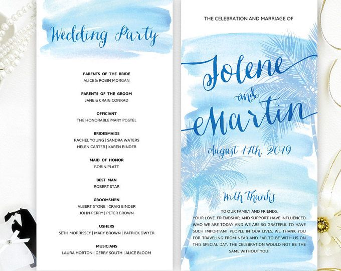 Destination Wedding Programs Printed For Beach Themed Program Watercolor Ceremony