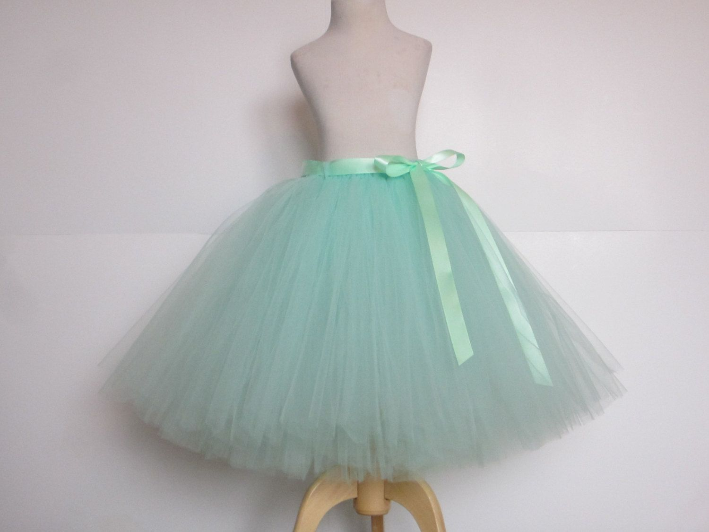 Bridesmaid Mint Tulle Skirt Tea Length Adult Mint tutu 25 Inch Long ...