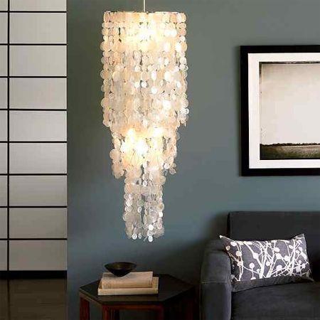 Make a capiz chandelier with wax paper \