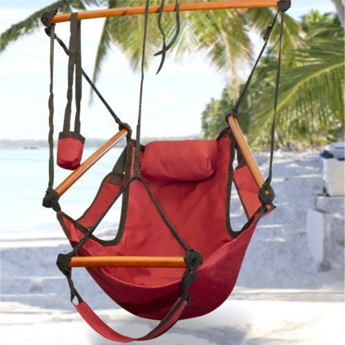 Hammock Hanging Chair Air Deluxe Sky Swing Outdoor/Indoor Chair Solid Wood 250lb #BestDealDepot