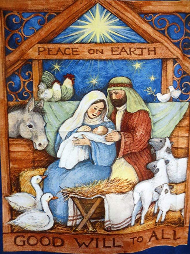 Nativity Panel Showing Mary, Joseph And Baby In Stable