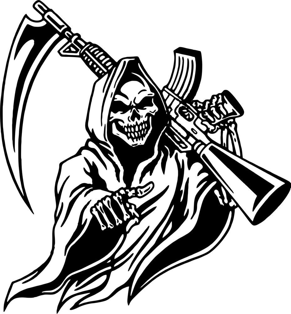 Grim Reaper Machine Gun Hunt Skull Car Truck Window Laptop Vinyl - Custom vinyl decals for black cars