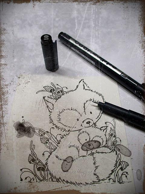 edding de markers waarmee je zo leuk kan doodle . Stempel is van Wild Rose Studio.