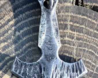 HAGAL, mano forjado colgante del martillo de Thor Mjollnir Mjolnir vikingo vikingos nórdicos Thor Thorshammer collar mano de hierro hecho pagano joyas de acero