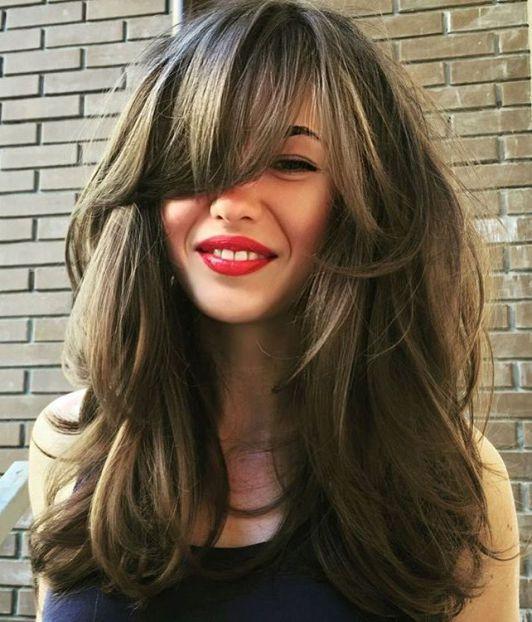 nice long layered haircut with bangs for thick hair pelo morenocabello rubiocorte - Cortes De Pelo Rubio