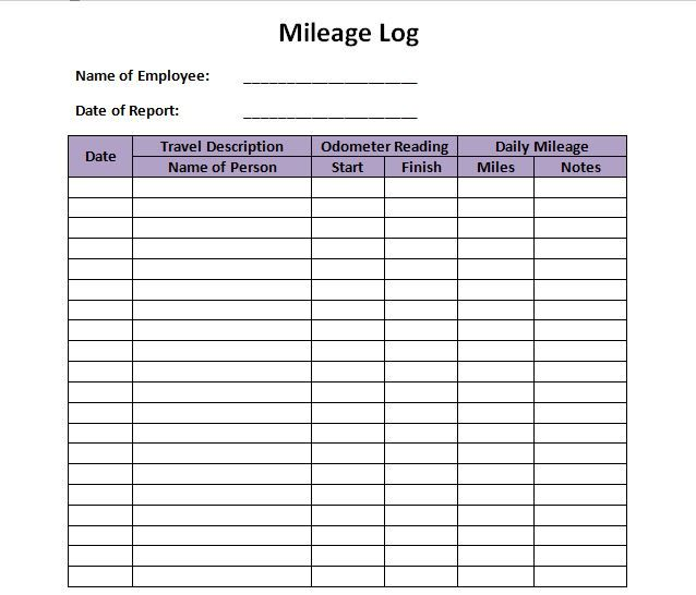 Download Our Free Printable Mileage Log Templates Forms And