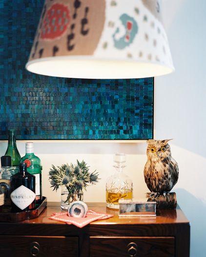 monochromatic mosaic  eclectic living room by TILTON FENWICK