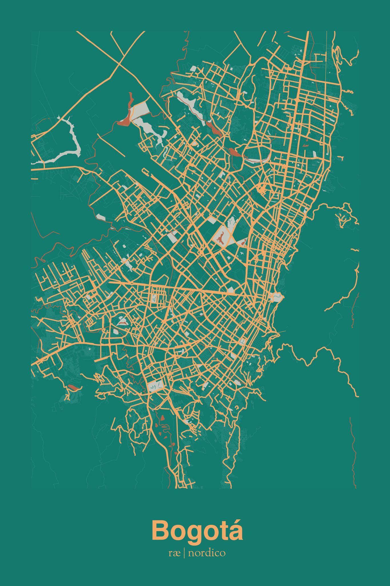 Bogota, Colombia Map Print | Wohnen