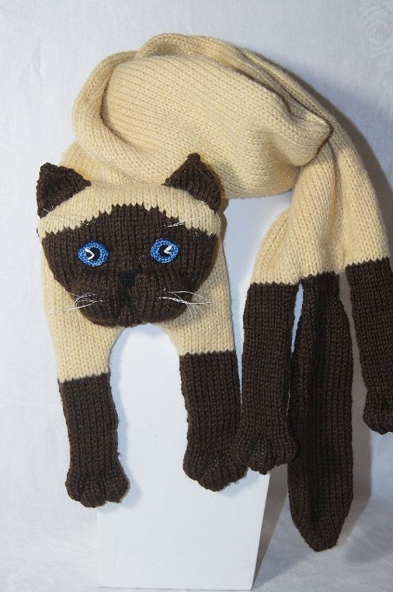 Knitting Cat Scarf Siamese Cat Scarf Animal knitting scarf-Cat Lover ...
