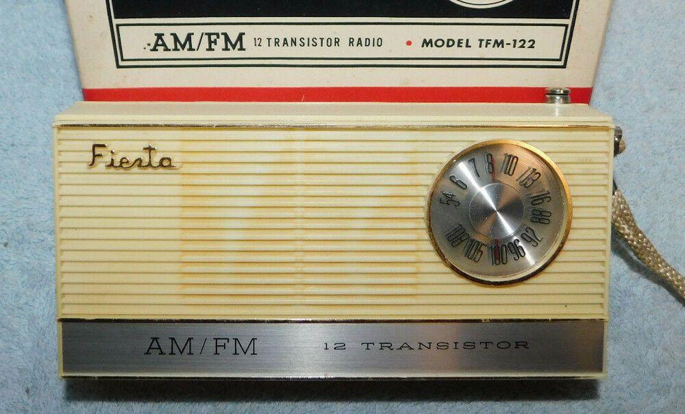 Vintage 1960s Fiesta Vfm 122 Am Fm Transistor Radio W Box Works