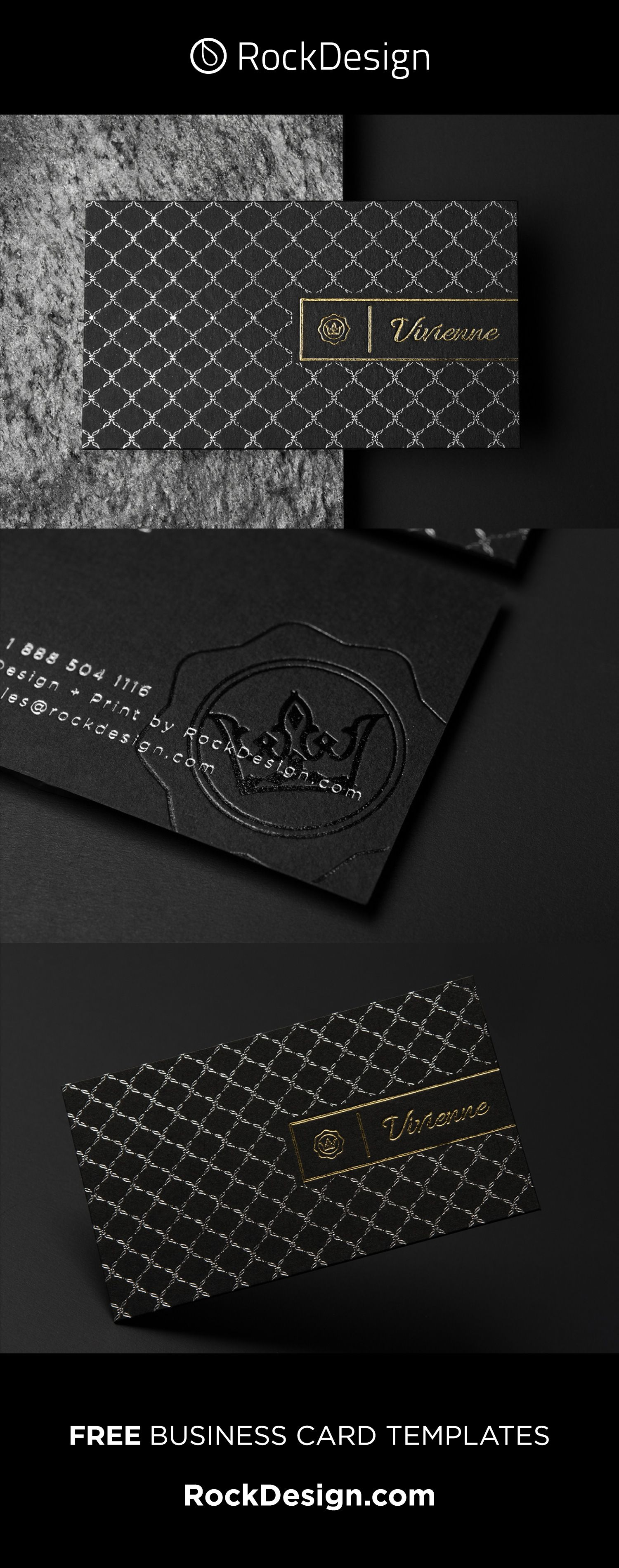 Luxury Pattern Real Estate Template Black Duplex Business Card Vivienne Elegant Business Cards Design Elegant Business Cards Classic Business Card