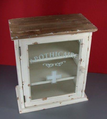 Apothekerschrank, First aid box, Holz, Vintage,36x32x18 cm Amazon - apothekerschrank für küche