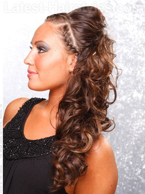 Prom Hair To The Side Curly With Braid