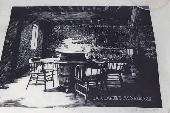 Vintage Jack Daniels Barrel House Woodcut Limited Edition Art #deesweetnostalgia #jackdaniels #art #vintage