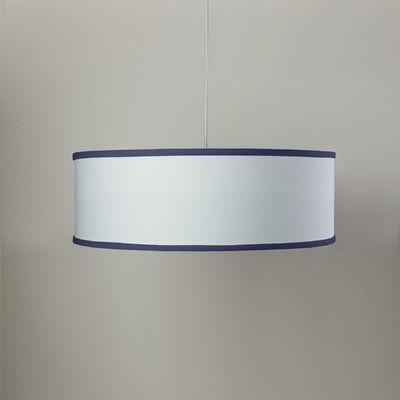 Oilo White Shallow 3 Light Cylinder Pendant Shade Color: White/Cobalt Blue
