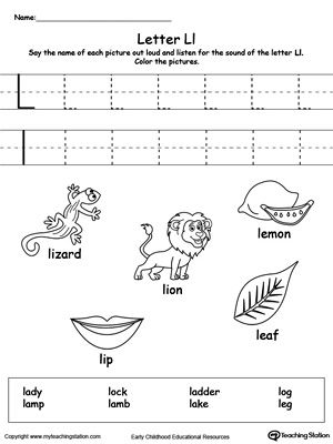 Words Starting With Letter L  Worksheets Activities And Kindergarten